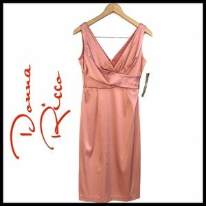 Donna Ricco Dusty Rose Stain Cocktail Dress